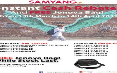 Samyang Promotion – Instant Rebate And Free Jenova Bag